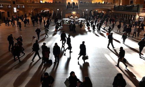 A photo of people in Grand Central Station.